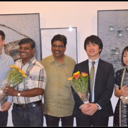 Poet Arthur Binard, guests from The Japan Foundation and Eklavya members during the inauguration of the photo-exhibition